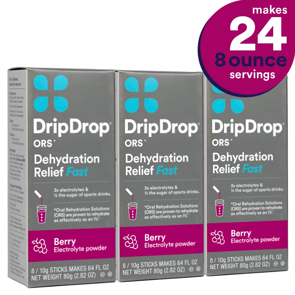 DripDrop ors - Patented Electrolyte Powder for Dehydration Relief fast - For Hangover, Heat Exhaustion, Illness, Sweating & Travel Recovery, Berry, Individual 10g Sticks, 24Count by DripDrop