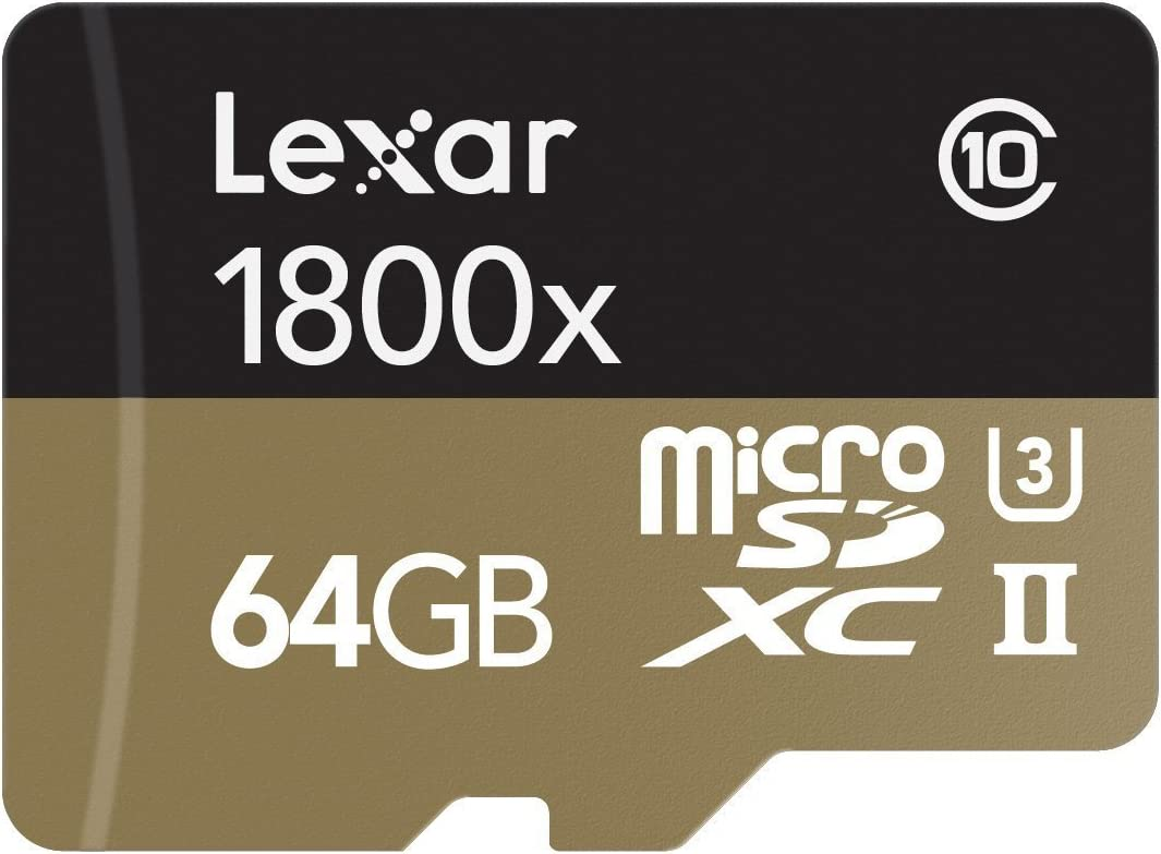 TALLA 64 GB. Lexar Professional - Tarjeta de Memoria 1800x microSDXC UHS-II de 64 GB (USB 3.0 con Adaptador, Incluye Lector de Tarjeta)