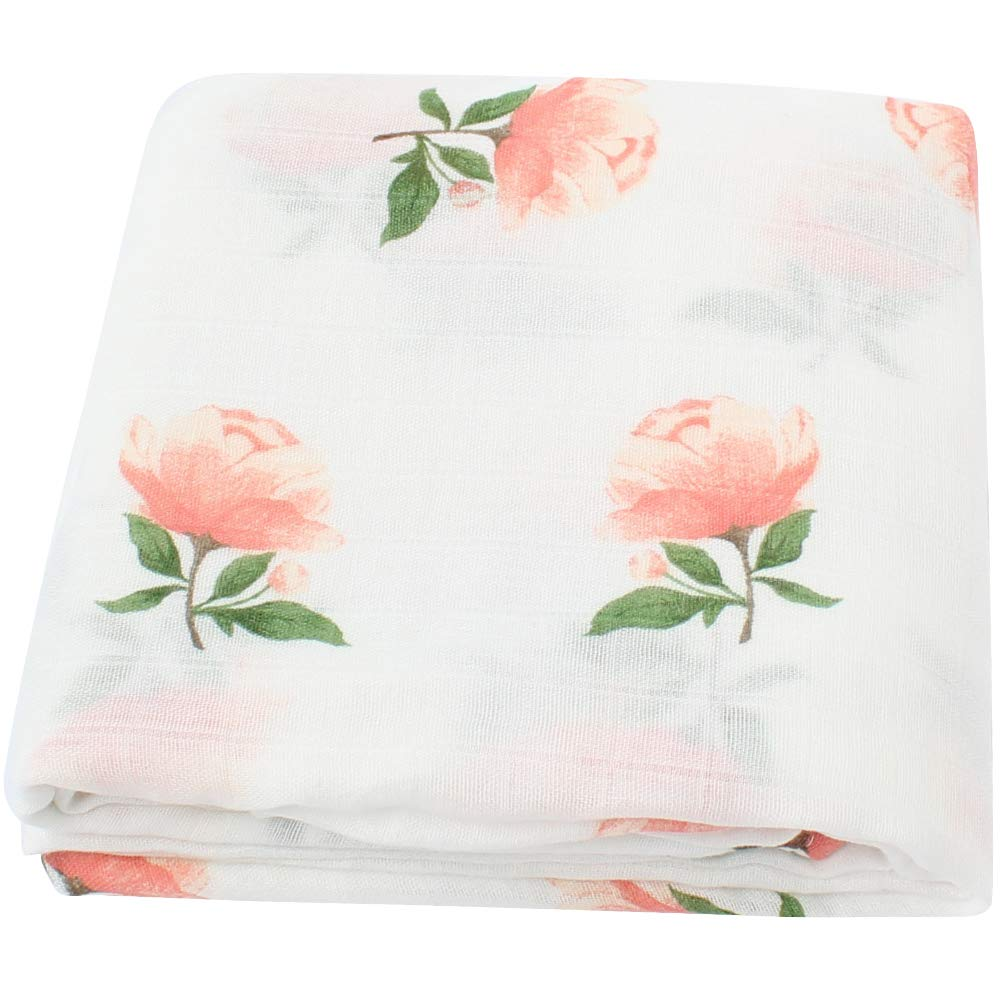LifeTree Muslin Swaddle Blankets for Girls -Floral Print Soft Baby Muslin Blanket - Bamboo Cotton Large Baby Swaddle Lebze BB13.16FL-FBA
