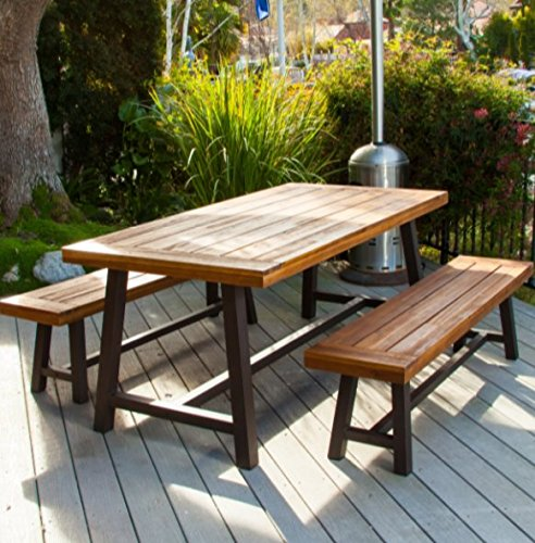 Picnic Table Rustic Metal Acacia Wood 3 Piece Dining Set Patio Furniture