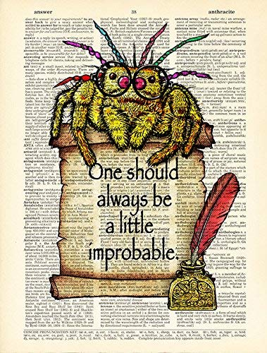 Old Book Page Artwork Oscar Wilde Quote Jumping Spider Poster Art Print