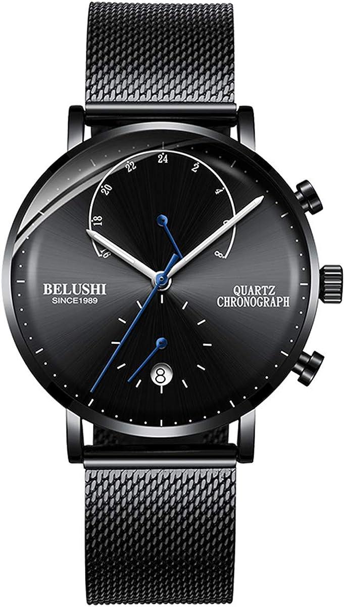 Reloj Ultrafino para Hombre, de Acero Inoxidable, con Correa de Malla milanesa Negra (9 mm-65 g), diseño Minimalista de Cuarzo, Color Azul y Negro