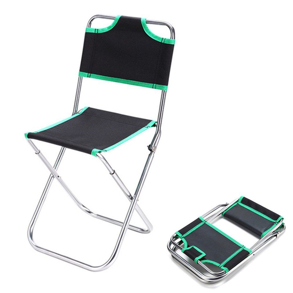 TechCode Folding Chair Outdoor, Portable Multi-function Folding Steel Frame Camping Chair with Backrest Lightweight Stable Aluminium Alloy Oxford Cloth Chair for Camping Beach & Backpacking (Green)