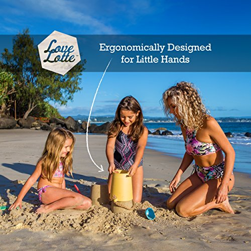 Eco Beach Toy Set for Toddlers & Kids   Biodegradable Natural Bamboo Fiber Sand Toys   Includes Carry Tote Bag with Mesh Base   Non Plastic Beach Toys for Boys & Girls of Any Age by LoveLotte (Image #3)