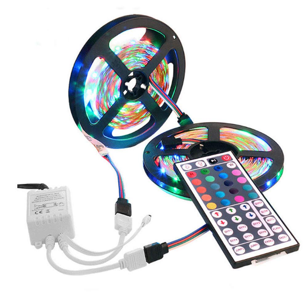 HEVÜY LED Streifen 10M, RGB LED Stripes LED Bänder Farben, 3528SMD-LED, IP33 mit Fernbedienung (Colorful)