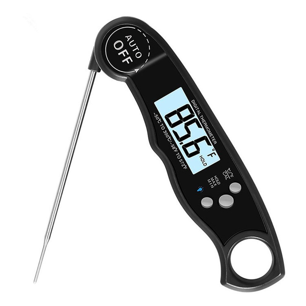 Red BESTOMZ Waterproof Digital Thermometer Foldable Probe Instant Read Thermometer with Calibration and Backlight for Kitchen