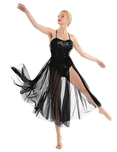 TiaoBug Women Sleeveless Lyrical Dance Costume Dress Illusion Sweetheart Sequins Trianglar Cut Skirt Leotard Ballet Bodysuit