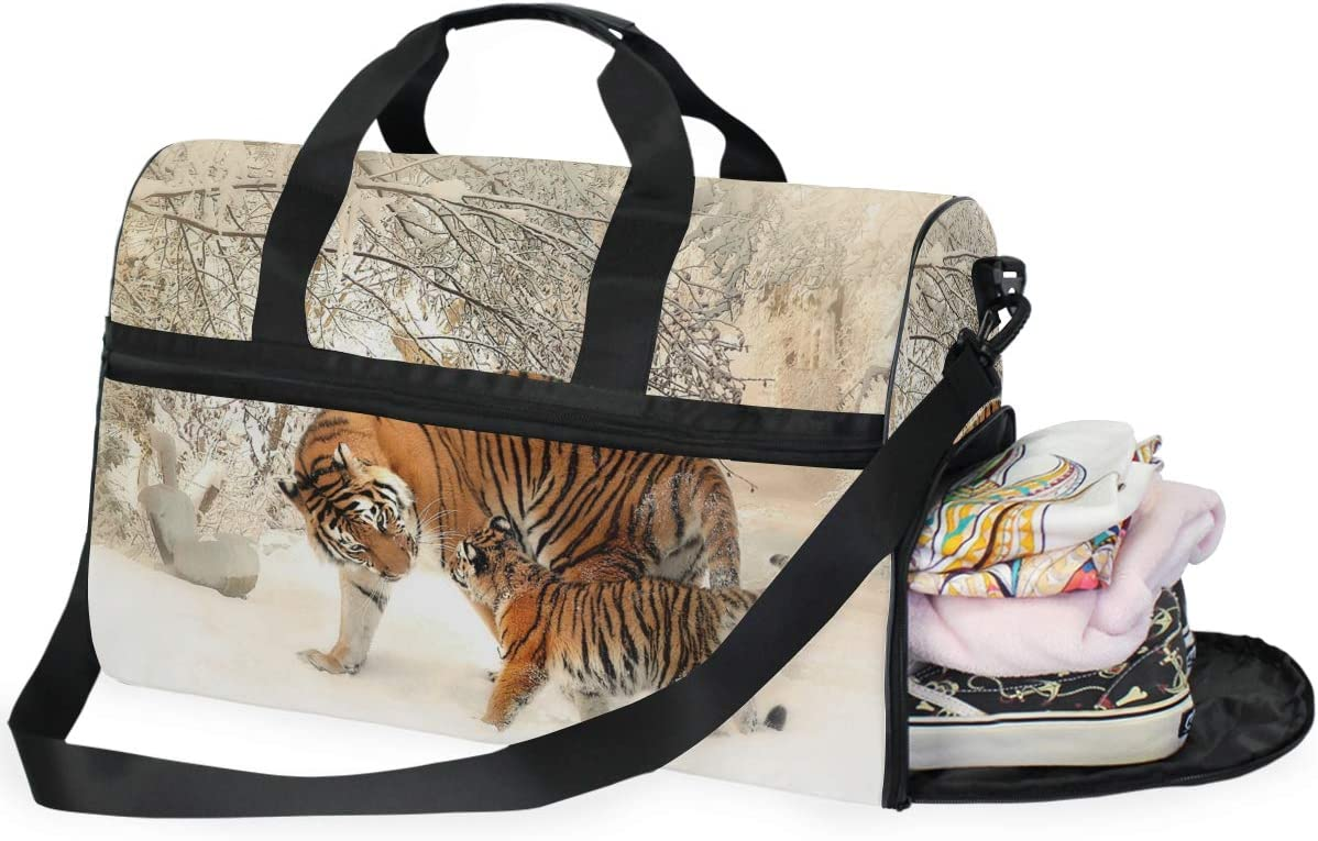 AHOMY Tiger Baby Family Sports Gym Bag with Shoes Compartment Travel Duffel Bag