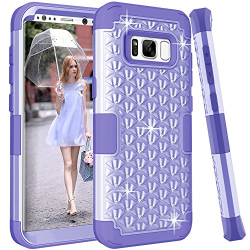 Galaxy S8 Case, TOPBIN [Shiny Bling] & [ diamond] 3 in 1 Premium Slim Lightweight Scratch Resistant Fit Cover with Rhinestone Hard PC+ Soft Silicone Protective Case for Galaxy S 8 (Purple) -