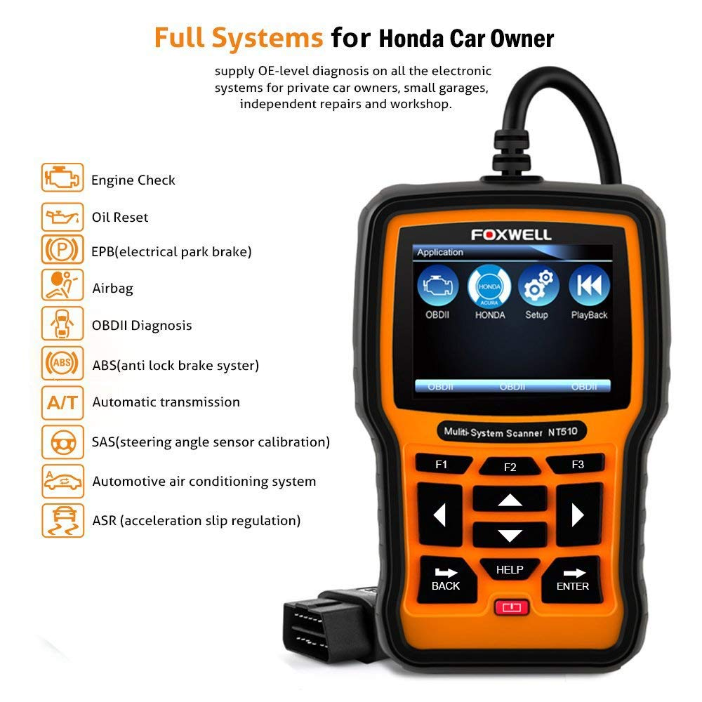 FOXWELL NT510 OBD2 Scan Tool for Honda Acura All System Diagnostics ABS SRS  Transmission SAS TPMS DPF Battery Reset Oil Service Light Reset