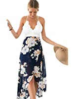 Blooming Jelly Women's Deep V Neck Sleeveless Summer Asymmetrical Floral Maxi Dress