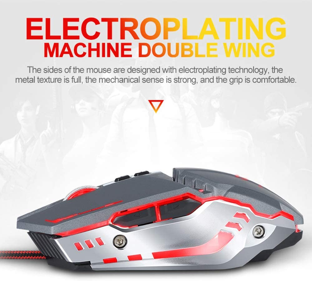 Suitable for Games//Work//Home//Design 4-Color Breathing Light Effect Sensitive Switching Mechanical Appearance Professional Wired Optical Gaming Mouse Pc Mouse