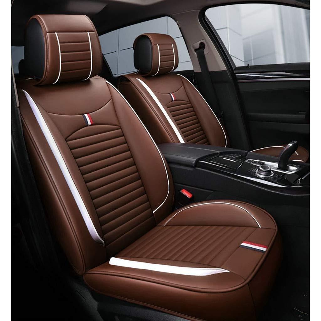 カーシートカバーセット、ユニバーサルカーシートクッションフロントリア5シートフルセットフェイクレザーシーズンズパッド互換性のあるエアバッグシートプロテクター防水(カラー:ブラウン)   B07T4HXTKY