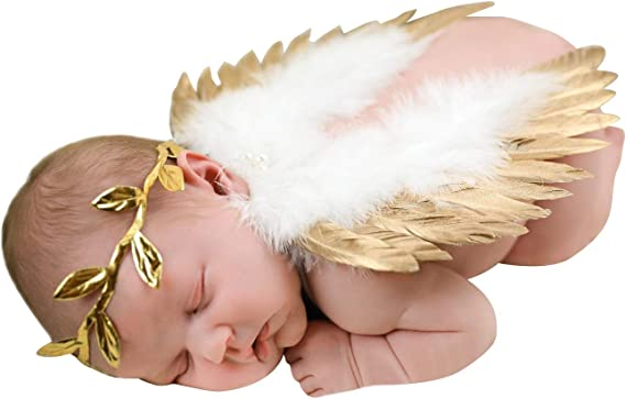 Photo Infant Baby Newborn Leaves Headband Feather Angel Wings Props Set