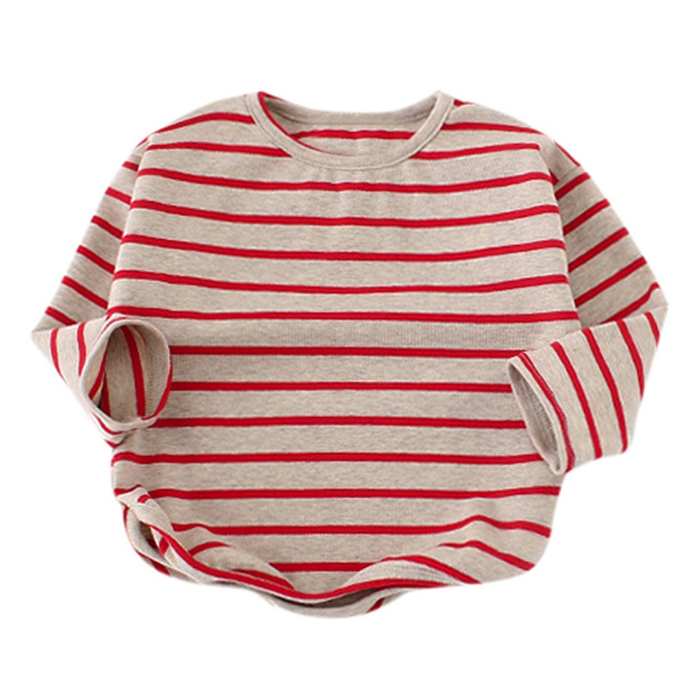 Clothes for Baby Girls Boys Long Sleeve Stripe Soft Toddler Kids Tops T-Shirt Warm Clothes Children Spring T-shirt Tops Blouse Holiday Party For Toddler Baby Kid Girl Infant Children (Red, 9M)