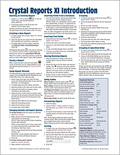Crystal Reports XI Quick Reference Guide: Introduction (Cheat Sheet of Instructions, Tips & Shortcuts - Laminated Card) (Best Sql Cheat Sheet)