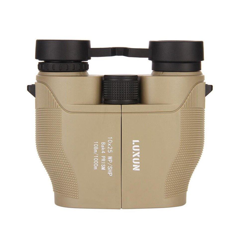 QAR 10X25 窒素充填 防水 曇り止め双眼鏡 グリーンフィルム 大きな接眼レンズ 高解像度 望遠鏡 ベージュ 009  カーキ B07GN7V8JH
