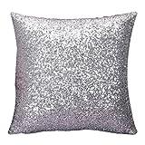 Susenstone®Solid Color Glitter Pailletten Dekokissen Fall (Silber)