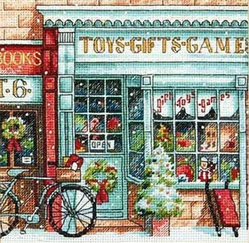 Dimensions Gold Collection Counted Cross Stitch Kit, Toy Shoppe Christmas Cross Stitch, 18 Count White Aida, 6'' x 6'' (Dimensions Gold Holiday)