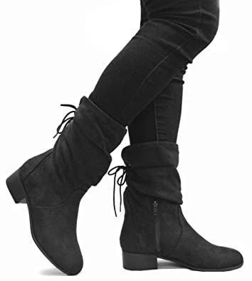 10c28a080dff SODA Women s Slouchy Boot Round Toe Foldable Faux Suede