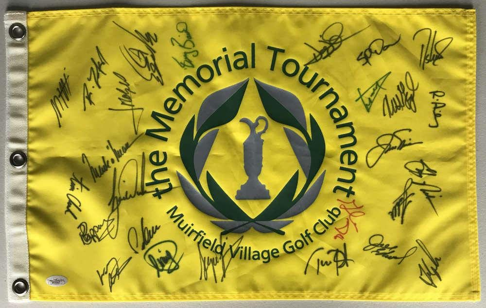 The Memorial Signed Autographed Golf Flag Woods Nicklaus Couples JSA Certified Autographed Pin Flags