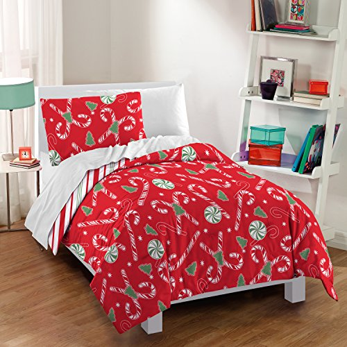 dream FACTORY Candy Cane Twin Comforter Set, Red (Candy Bedding)