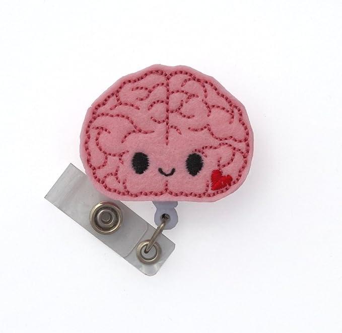 Retractable Badge Reel with Swivel Clip and Extra-Long 34 inch Cord Brain Sunflower Anatomy Badge Holder//Neurology//Neuro//Neurologist