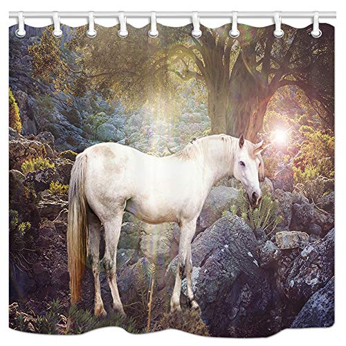 JAWO Fantasy Shower Curtain, Unicorn in The Magical Forest Bath Curtain, Polyester Fabric Bathroom Shower Curtain with Hooks 69x70Inches, Bathroon Accessories -
