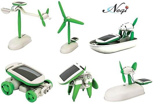 Negi Educational 6 in 1 Solar Power Energy Robot Toy Kit, White/Green