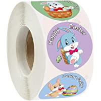 KESYOO 1 Roll/500pcs Happy Easter Stickers Seals Labels Lovely Bunny Animal Stickers Teacher Reward Stickers Labels for…