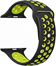 Silicona Apple Watch Band 42mm, Cantome Pulsera deportiva muñeca pulsera respirable suave para iWatch serie 1,2,3, Sport Edition correa de repuesto 42 mm, negro + verde