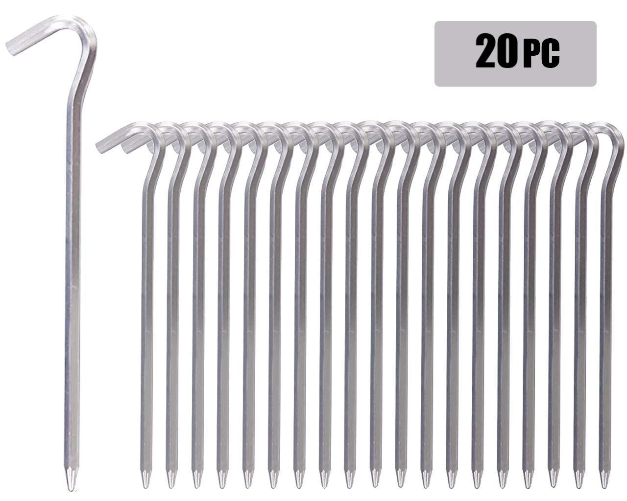 RIY 7'' Camping Tent Stakes Aluminum Heavy Duty Garden Canopy Stakes Pegs for Plants 20pcs by RIY