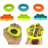 ValueHall Finger Strengthener Multiple Resistance Levels Silicone Hand Grip Strength Trainer Ring for Forearm Exercise, Guitar Finger Strengtheners and Rehabilitation Training V7045-1