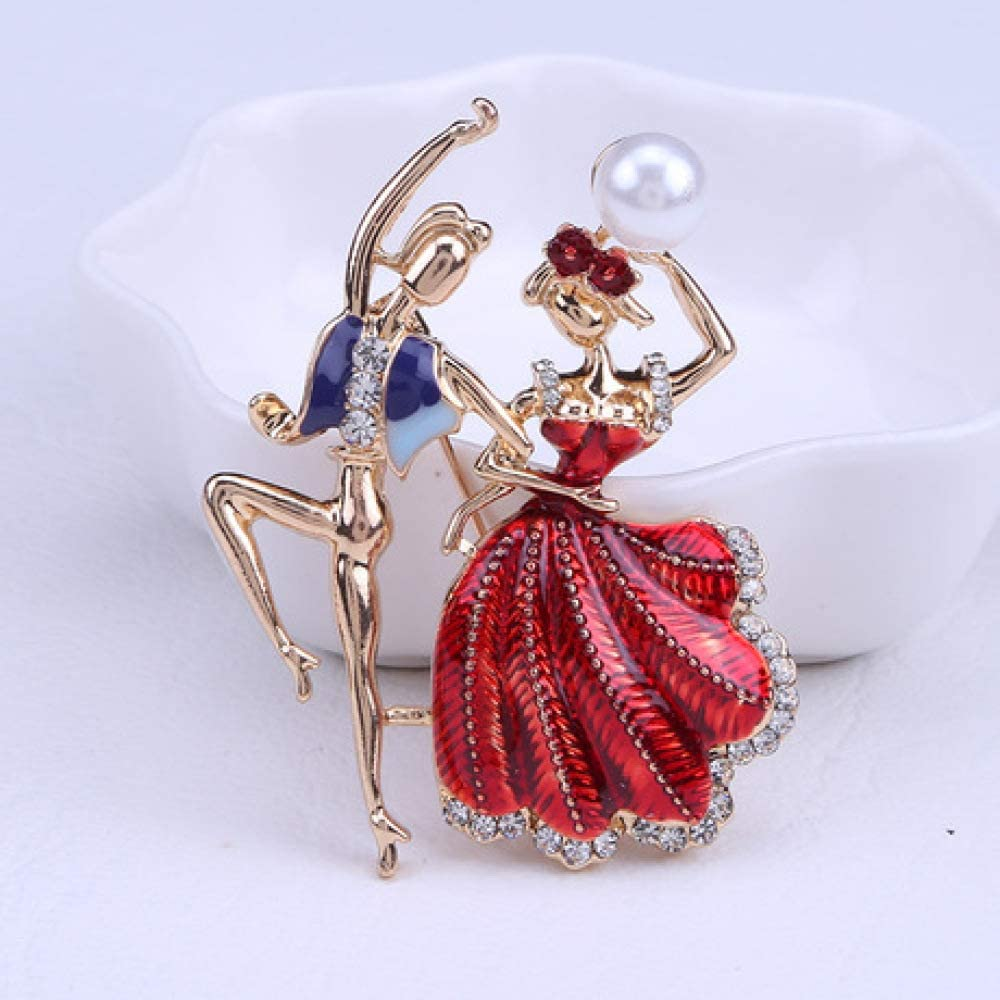 SummerTNG Fashionable and Refined Out Brooches,Princess Prince Dancing Brooch Alloy Diamond Brooch