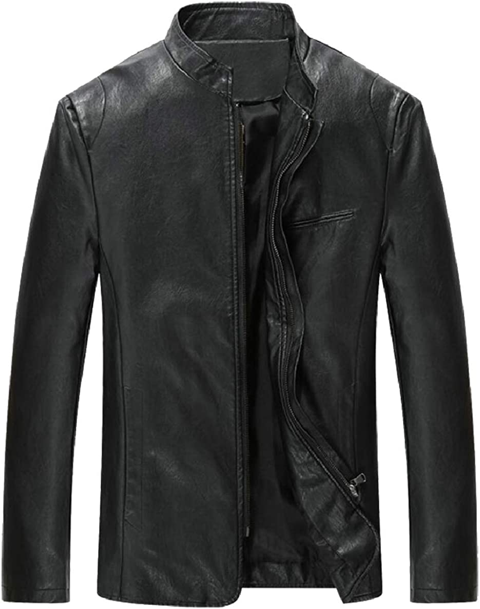 ONTBYB Mens Stand Collar Trucker Solid Casual Faux-Leather Front-Zip Moto Jackets