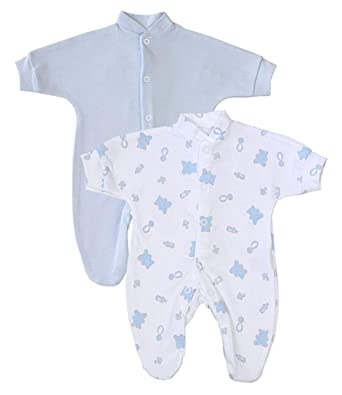 8b57f009d Babyprem Premature Baby Pack of 2 Sleepsuits Clothes 0-7.5lb Blue Teddy  Bear: Amazon.co.uk: Clothing