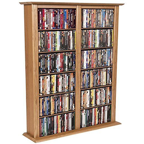 Dual Media Storage - Media Storage Tower-Regular Double Oak