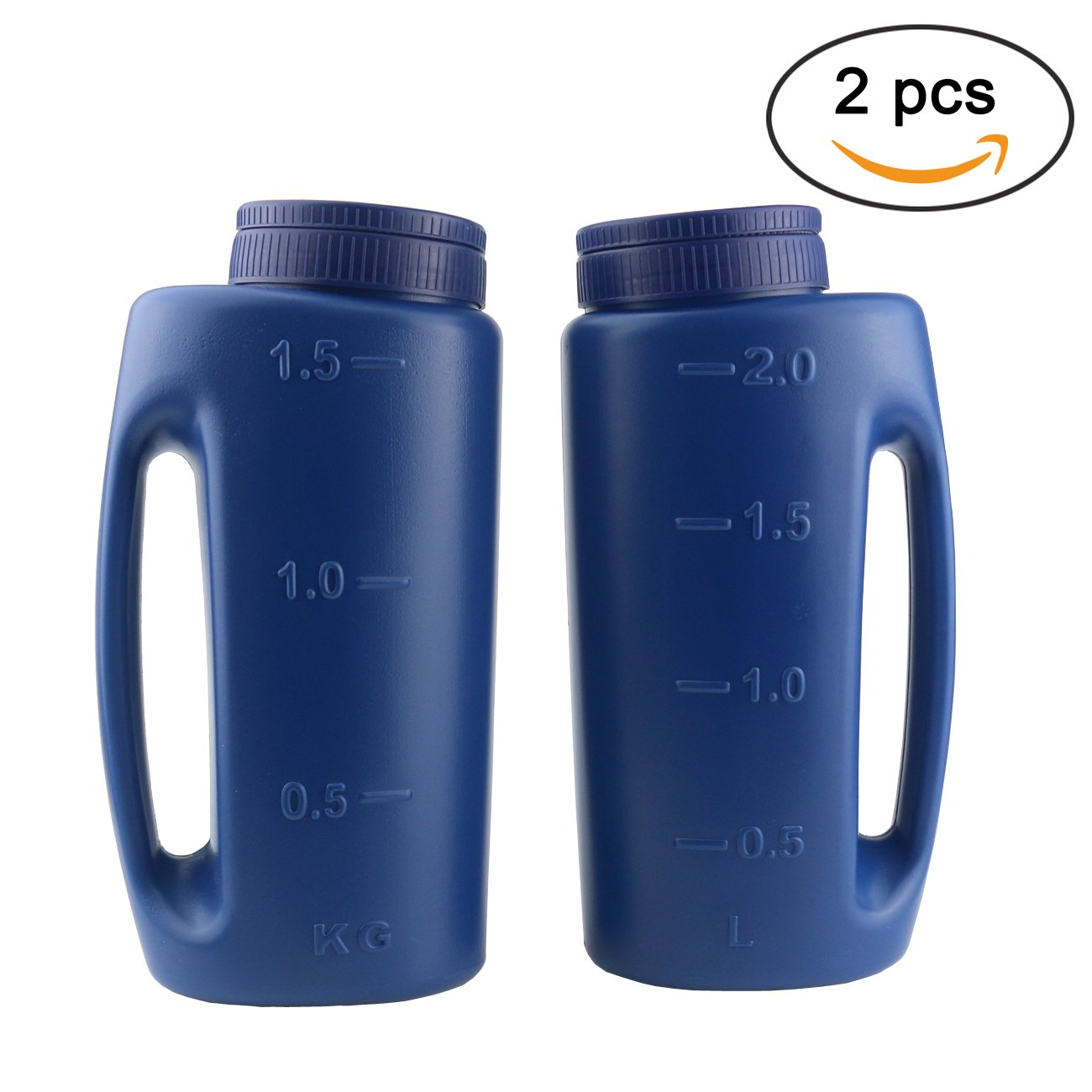 Ogrmar 2PCS Handheld Spreader Adjustable Hole Size Salt and Seed SpreaderFertilizer Seeds Calcium Chloride Insect Repellent Ice Melter De Icer (Blue)
