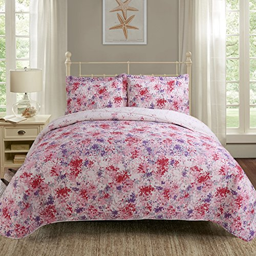 - Hilin Fashion Microfiber Reversible Printing 2-pieces Quilt set Twin size with Shams,as Bedspread,Coverlet or Bed Cover-Soft,Lightweight and Hypoallergenic (GARDEN FUXIA, Twin)