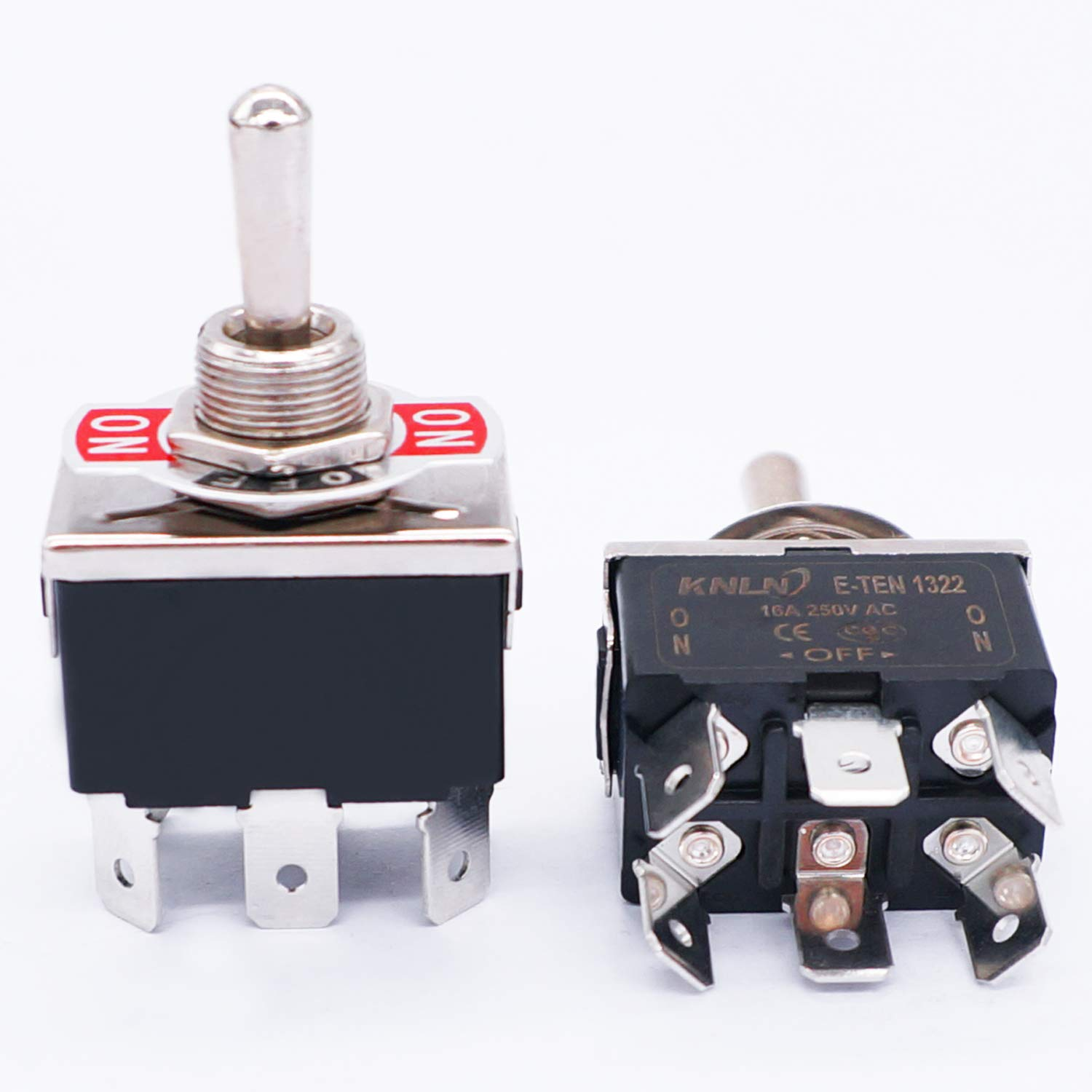 TWTADE 3 Pcs Toggle Switches 6 Pin 3 Position ON/Off/ON DPDT Heavy Duty Rocker Toggle Switch 16A 250VAC Spade Terminal Metal Bat Switch with Waterproof Boot Cap and 6.4mm Terminal Wires TEN-1322MZX: Industrial & Scientific