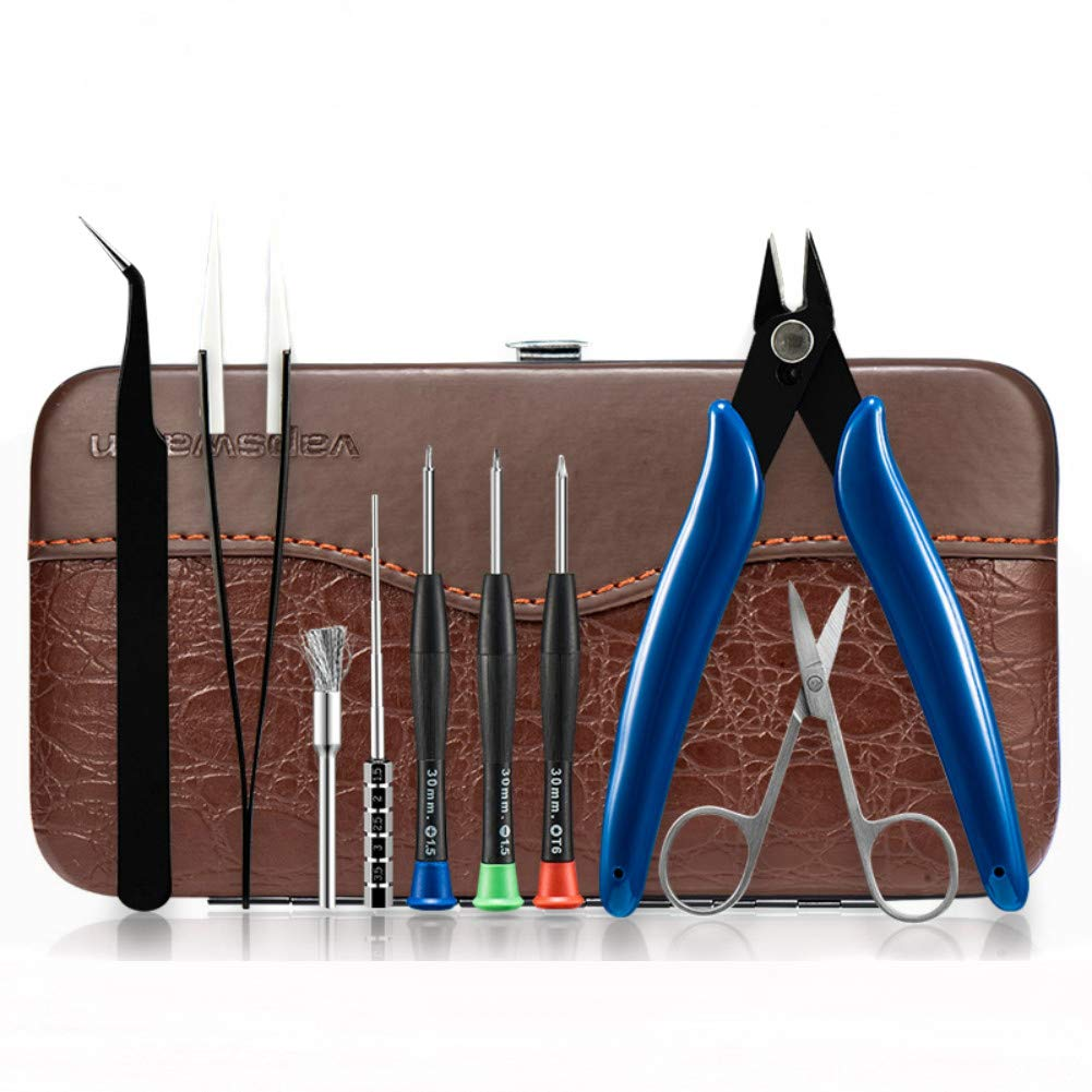 DIY Tool Kit for DIY RTA RDA RBA Building Coil Jig Allen Screwdriver Scissors Pliers Ceramic Tweezer Brush 9 in 1 Leather case