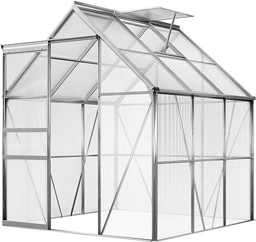 Invernadero de policarbonato y aluminio, 5, 85 m³ – con puerta corredera y ventana de ventilación: Amazon.es: Jardín