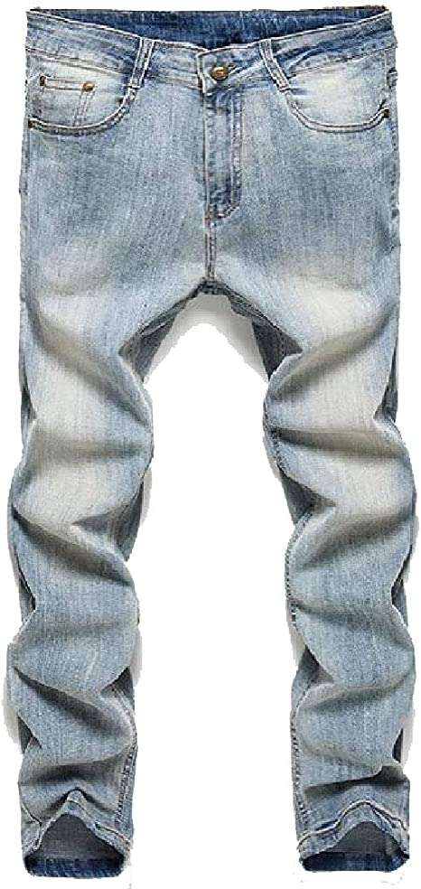 Candiyer Mens Straight Leg Washed Embroidery Middle Waist Relaxed-Fit Pants