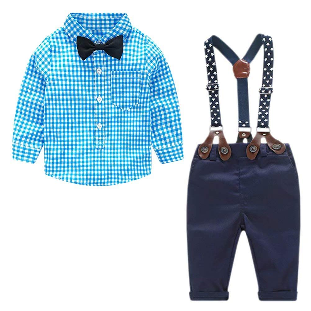 Baby Boy's 2 Pieces Tuxedo Outfit, Long Sleeves Plaids Button Down Dress Shirt with Bow Tie + Suspender Pants Set for Infant Newborn Toddlers, Blue, for 0-6 Months = Tag size 70