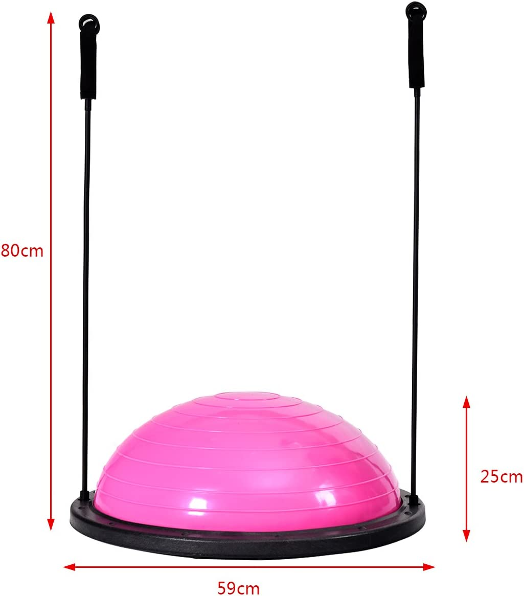 Goplus Balance Ball Equilibre Ballon Stabilit/é avec Coordination Pieds Antid/érapants Equipement de Fitness avec Cordes Elastiques Bleu et Rose