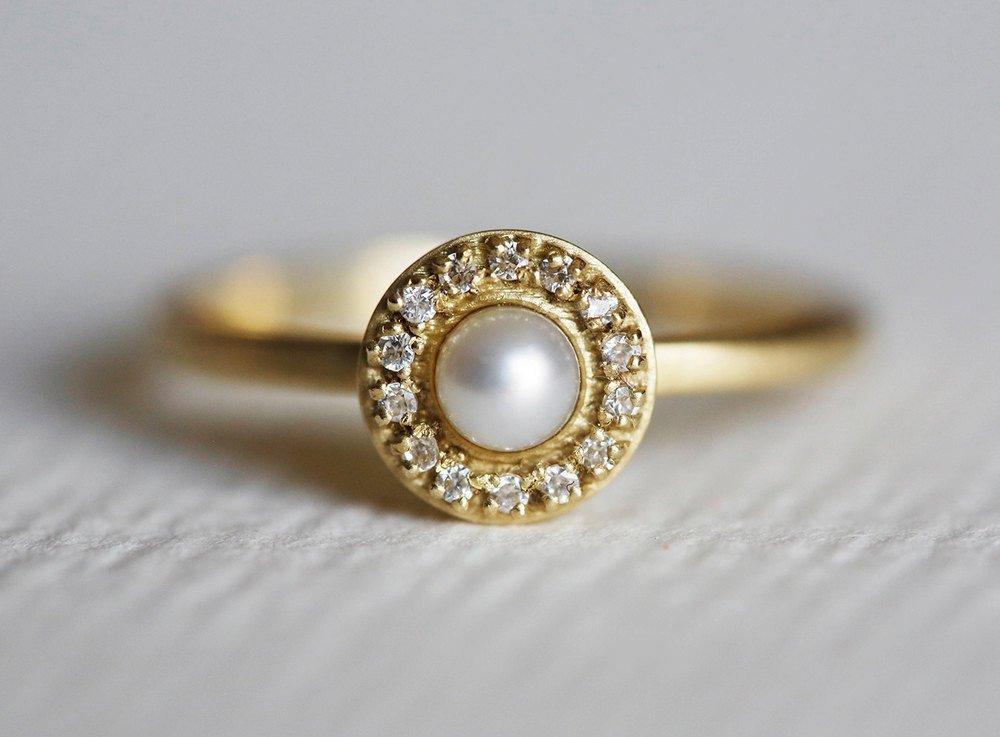 Amazon Com Pearl Engagement Ring Diamond Wedding Ring Diamond Wedding Band 14k Gold Pear Ring Pave Diamond Ring Handmade