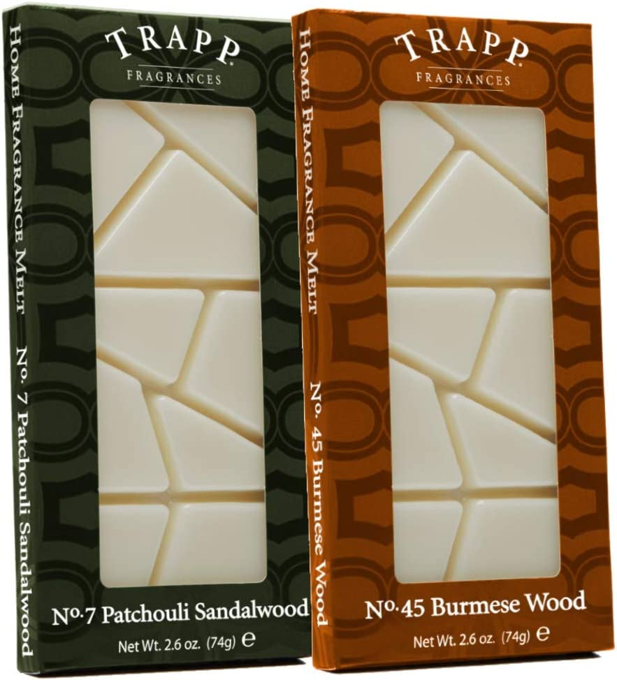 Trapp Home Fragrance Wax Melts, 2.6oz Soothing Woods Variety, Set of 2