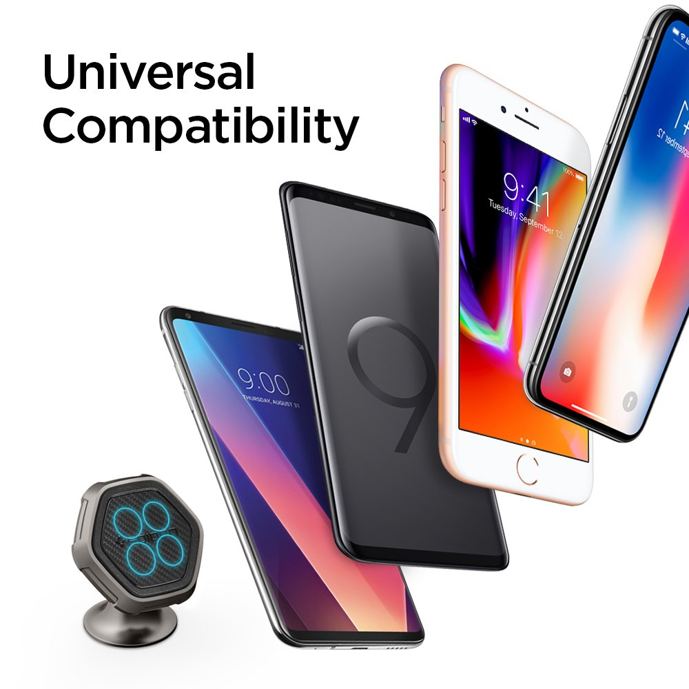Spigen Kuel Qs40 Car Phone Mount Metal Body Quad Magnetic Dash Board Holder Cradle Universal Turbulence S40 2 Black Compatible With Iphone X 8 Plus 7 Galaxy S9 Note S8