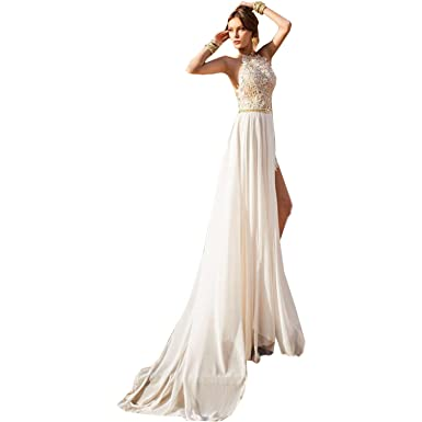 dressvip High Neck Beaded Crystals Lace Applique Beach Split Prom Dresses White Floor Length (UK14
