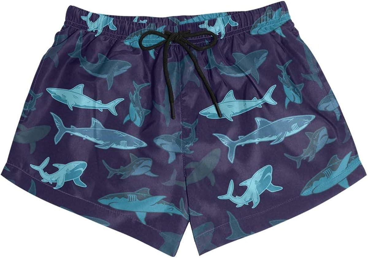 Mens Board Shorts Marine Animal Sharks Holiday Swim Trunks Mesh Lining